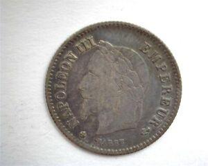 FRANCE 1867-BB SILVER 20 CENTIMES NEAR CHOICE UNCIRCULATED