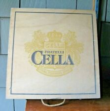 Vtg FRATELLI CELLA 4 Bottle Wood Wine Box w Hinged Lid Top Rope Handle Italy