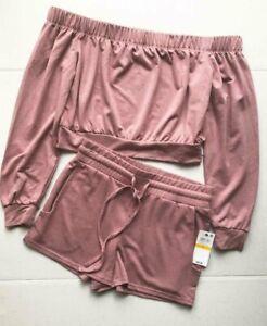 Material Girl Juniors' Sweatshorts & Off Shoulder Sweatshirt Set Pink Size Small