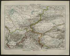 1895 Antique map of CENTRAL ASIA. KAZAKHSTAN, MONGOLIA. UZBEKISTAN. Turkmenistan