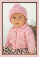 "Baby Girls Jacket and Bobble Hat Knitting Pattern 16-22"" DK 1014"