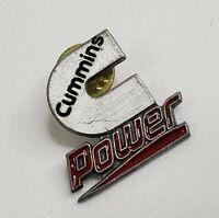 Cummins Power Hat Lapel Pin  Vintage Logo Silver Tone Red Black