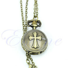 Antique Bronze Tone Taschenuhr Pocket Watch Cross Pendant Chain Necklace New