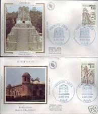 S91/92+ FDC 2  ENVELOPPES  1er  JOUR SOIE   UNESCO