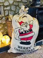 Vintage Christmas Hessian Jute Sack Stocking Extra Large