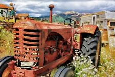OLD VINTAGE FARM TRACTOR CANVAS PICTURE POSTER PRINT WALL ART UNFRAMED 2087