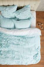 ANTHROPOLOGIE Georgina QUEEN Duvet Cover Mint Cotton Bedding Flower Applique NIP
