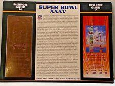 SUPER BOWL XXXV TICKET 22KT GOLD REPLICA BALTIMORE RAVENS VS NEW YORK GIANTS
