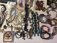 Estate Vintage Now Jewelry Lot-Catholic Rosary Plastic Metal 5pc