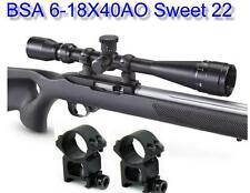 "BSA® Sweet 22 6-18X40 Scope w-H.D. 7/8"" Weaver Base Rings Compensation for .22LR"