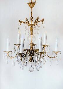 Vintage Chandelier Gold plated with Real Crystals