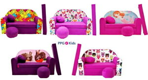 Sofa bed for kids, Fold Out Sofa Foam Bed for children + free pillow and pouffe
