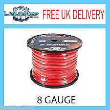 8 Gauge AWG 10mm² Rosso Cavo di alimentazione della Terra Cavi 12 V SOLD le lunghezze di 1 METRI