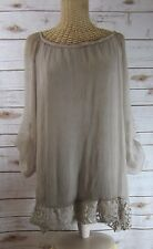 AMANTI Womens Small Taupe Beige LS Open Back Silk Tunic Boat Neck Lace Italy