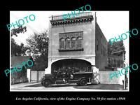 OLD LARGE HISTORIC PHOTO OF LOS ANGELES CA FIRE DEPARTMENT No 50 STATION c1940