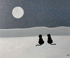 """Gabriel Donnet """" Les chats et la lune """" Tableau naïf original"""