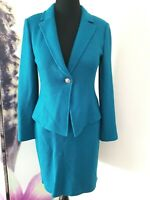 St John Textured Teal 1 Button Blazer Pencil Skirt Suit Wool Blend sz 10 YJ01