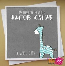 Personalised Custom Handmade Card For New Baby 'Giraffe' (Boy or Girl)