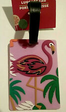 Pink Flamingo Tropical White Green Luggage Travel Backpack Soft Flexible Tag