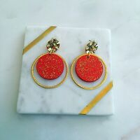 Red & Gold Glitter Handmade Wooden Gold Hoop & Stud Christmas Fashion Earrings
