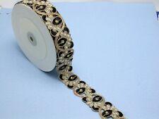 "Beaded Sari Saree Border Copper & Black Embroidered  1 5/8"" (41 mm) Per Meter"