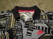 Nike Challenge Court Allover Print vintage tennis polo shirt M/L 1993 Agassi