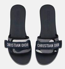Christian Dior Dio(r)evolution Dway Blue Rubber Logo Slide Mule Flat Sandal 37
