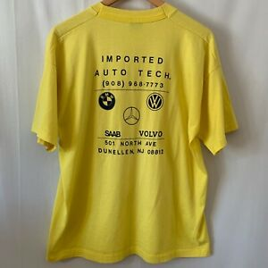 VTG Fruit Of The Loom Best XL T-Shirt Yellow Imported Auto Tech. BMW SAAB VW