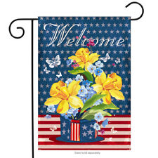 """Patriotic Welcome Floral Garden Flag Daffodils Red White and Blue 12.5"""" x 18"""""""