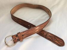 Vintage Leather Belt Western Biker Hippie Cowboy Tooled vtg 38