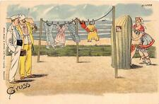 COMIC GRUSS AUS LIGHTHOUSE WOMAN CHANGING CLOTHES ON BEACH GERMANY POSTCARD