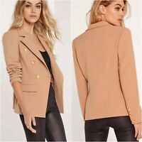 Missguided Military Blazer Womens Size 8 Tan Brown Double Breasted Jacket NWT