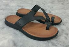 Born Concepts BOC Size 7 Black Pebbled Leather Womens Sandals with Toe Loop