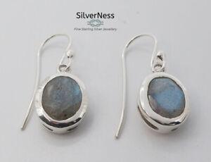 SilverNess Women's Jewellery Sterling Silver Labradorite Cabachone Earrings