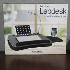 Sofia + Sam Portable Lap Desk w/ Memory Foam & Usb Light & Mouse Deck - Black
