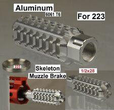 Aluminum Skeleton Muzzle Brake Comp 1/2x28 TPI For .223 Free Washer SILVER COLOR