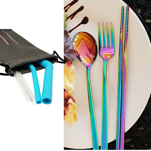 Travel Cutlery Silicone Reusable Straws Set Rainbow Stainless Steel with case