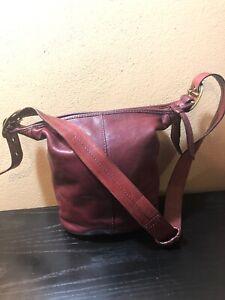 Vintage Coach Burgundy Leather Brass Hardware Crossbody Shoulder Bag
