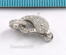 1x Rhodium plated STERLING SILVER DOLPHIN CZ END CONNECTOR CLASP #2807