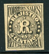 """Colombia MH Back of Book Selections: Scott #F4 5c Black """"R"""" Vertical Lines CV$3+"""