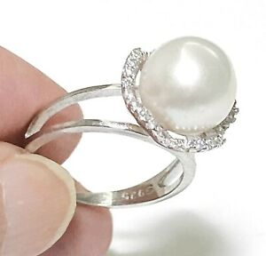 Gorgeous Mirror Luster Edison Natural White Round 10mm Pearl Band Ring Size 6-7