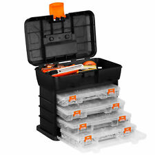 VonHaus 15/111 Utility Tool Box Organiser Case With 4 Drawers and Adjustable Dividers