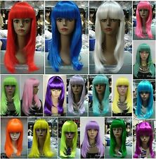 18 colors Long Straight bangs Cosplay Anime Carnival party Wigs Hivision #8882