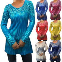 Womens Floral Tunic Tops Pullover O Neck Casual Loose Long Sleeve T Shirt Blouse