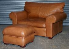 SOFT TAN LEATHER COLLIN & HAYES LOVE SEAT + FOOTSTOOL + FEATHER FILLED CUSHION