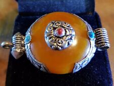 Tibetan AMBER Turquoise AND RED CORAL SILVER ROND SHAPED PENDANT 40 MM