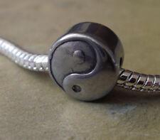 Edelstahl Bead Element Rund Yin Yang Antiksilber Silber für Armband 1440
