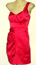CKM ShockingPinkStretchSatin1ShoulderedPartyMiniSizeS