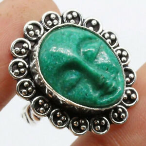 Goddess Face 925 Silver Plated Handmade Gemstone Ring of US Size 7 Ethnic Gift