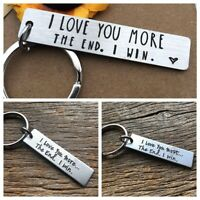 Her Him Letter Key Chain The End I Win Letter Keyring I Love You More / Most